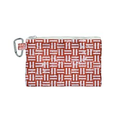 Woven1 White Marble & Red Marble Canvas Cosmetic Bag (small) by trendistuff