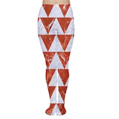 Triangle2 White Marble & Red Marble Women s Tights by trendistuff