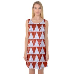 Triangle2 White Marble & Red Marble Sleeveless Satin Nightdress by trendistuff