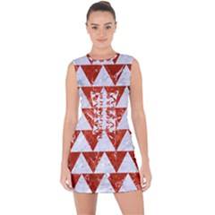 Triangle2 White Marble & Red Marble Lace Up Front Bodycon Dress