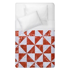 Triangle1 White Marble & Red Marble Duvet Cover (single Size) by trendistuff