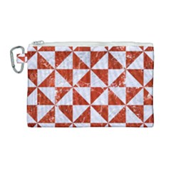 Triangle1 White Marble & Red Marble Canvas Cosmetic Bag (large) by trendistuff