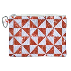 Triangle1 White Marble & Red Marble Canvas Cosmetic Bag (xl)