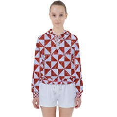 Triangle1 White Marble & Red Marble Women s Tie Up Sweat