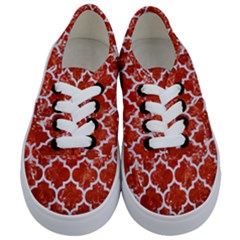 Tile1 White Marble & Red Marble Kids  Classic Low Top Sneakers