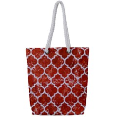 Tile1 White Marble & Red Marble Full Print Rope Handle Tote (small) by trendistuff
