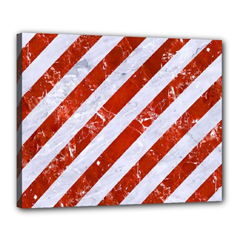Stripes3 White Marble & Red Marble (r) Canvas 20  X 16  by trendistuff