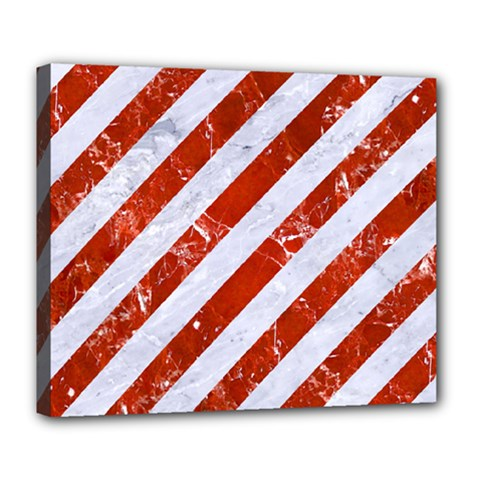 Stripes3 White Marble & Red Marble (r) Deluxe Canvas 24  X 20