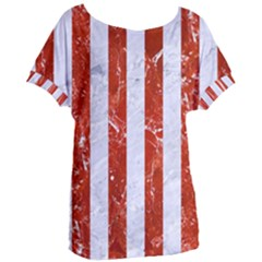Stripes1 White Marble & Red Marble Women s Oversized Tee