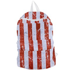 Stripes1 White Marble & Red Marble Foldable Lightweight Backpack by trendistuff