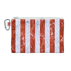 Stripes1 White Marble & Red Marble Canvas Cosmetic Bag (large) by trendistuff
