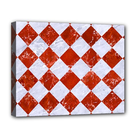 Square2 White Marble & Red Marble Deluxe Canvas 20  X 16   by trendistuff
