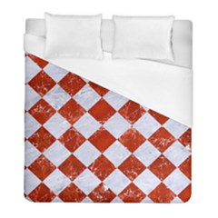 Square2 White Marble & Red Marble Duvet Cover (full/ Double Size) by trendistuff