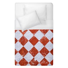 Square2 White Marble & Red Marble Duvet Cover (single Size) by trendistuff