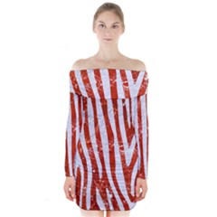 Skin4 White Marble & Red Marble (r) Long Sleeve Off Shoulder Dress by trendistuff