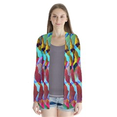 3d Pattern Mix Drape Collar Cardigan by Sapixe