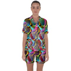 3d Pattern Mix Satin Short Sleeve Pyjamas Set