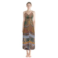 Aboriginal Traditional Pattern Button Up Chiffon Maxi Dress