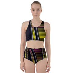 Abstract Multicolor Vectors Flow Lines Graphics Racer Back Bikini Set