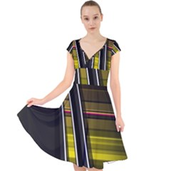 Abstract Multicolor Vectors Flow Lines Graphics Cap Sleeve Front Wrap Midi Dress