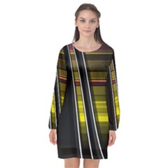 Abstract Multicolor Vectors Flow Lines Graphics Long Sleeve Chiffon Shift Dress