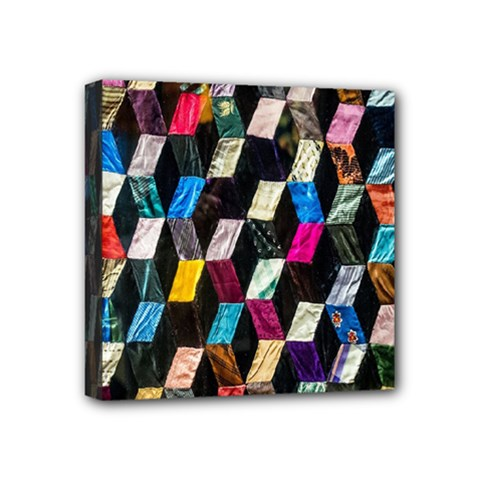 Abstract Multicolor Cubes 3d Quilt Fabric Mini Canvas 4  X 4  by Sapixe