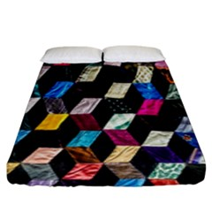 Abstract Multicolor Cubes 3d Quilt Fabric Fitted Sheet (king Size) by Sapixe