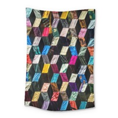 Abstract Multicolor Cubes 3d Quilt Fabric Small Tapestry