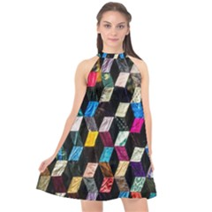 Abstract Multicolor Cubes 3d Quilt Fabric Halter Neckline Chiffon Dress