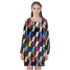 Abstract Multicolor Cubes 3d Quilt Fabric Long Sleeve Chiffon Shift Dress