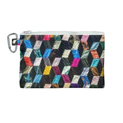 Abstract Multicolor Cubes 3d Quilt Fabric Canvas Cosmetic Bag (medium) by Sapixe
