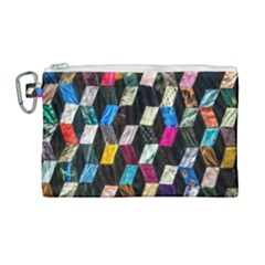 Abstract Multicolor Cubes 3d Quilt Fabric Canvas Cosmetic Bag (large)