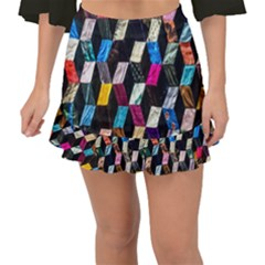Abstract Multicolor Cubes 3d Quilt Fabric Fishtail Mini Chiffon Skirt