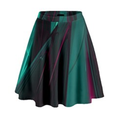Abstract Green Purple High Waist Skirt