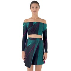 Abstract Green Purple Off Shoulder Top With Skirt Set