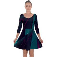 Abstract Green Purple Quarter Sleeve Skater Dress by Sapixe