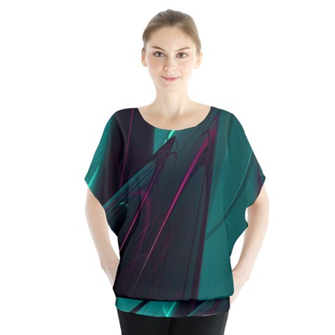 Abstract Green Purple Blouse by Sapixe