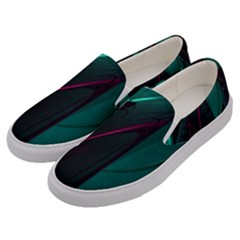 Abstract Green Purple Men s Canvas Slip Ons by Sapixe