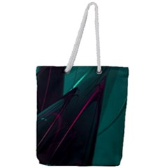 Abstract Green Purple Full Print Rope Handle Tote (large) by Sapixe
