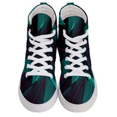 Abstract Green Purple Women s Hi Top Skate Sneakers