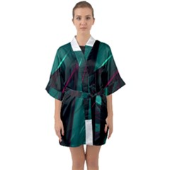 Abstract Green Purple Quarter Sleeve Kimono Robe