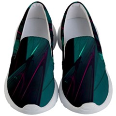 Abstract Green Purple Kid s Lightweight Slip Ons by Sapixe