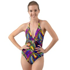 Abstract Digital Art Halter Cut Out One Piece Swimsuit