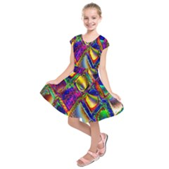Abstract Digital Art Kids  Short Sleeve Dress by Sapixe