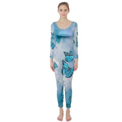 Adorable Butterflies, Aqua Long Sleeve Catsuit