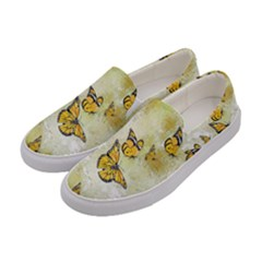 Adorable Butterflies, Yellow Women s Canvas Slip Ons by MoreColorsinLife