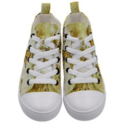 Adorable Butterflies, Yellow Kid s Mid Top Canvas Sneakers