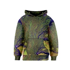 Lena River Delta A Photo Of A Colorful River Delta Taken From A Satellite Kids  Pullover Hoodie