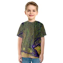 Lena River Delta A Photo Of A Colorful River Delta Taken From A Satellite Kids  Sport Mesh Tee