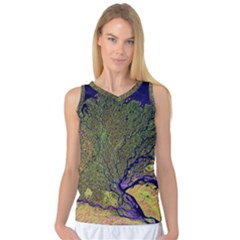 Lena River Delta A Photo Of A Colorful River Delta Taken From A Satellite Women s Basketball Tank Top